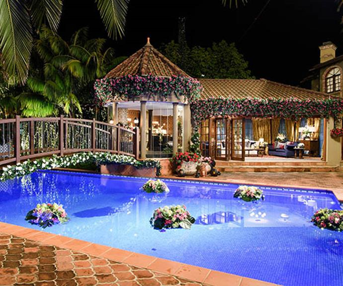 For Matty J's season of *The Bachelor* the crew built a romantic bridge across the pool.