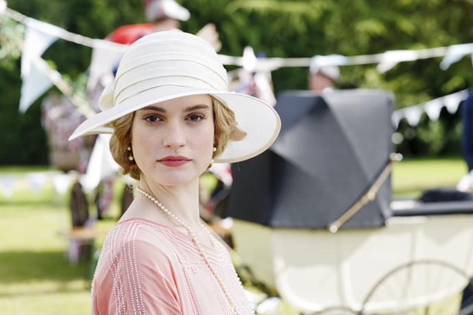 Lily James as Lady Rose in *Downton Abbey.*