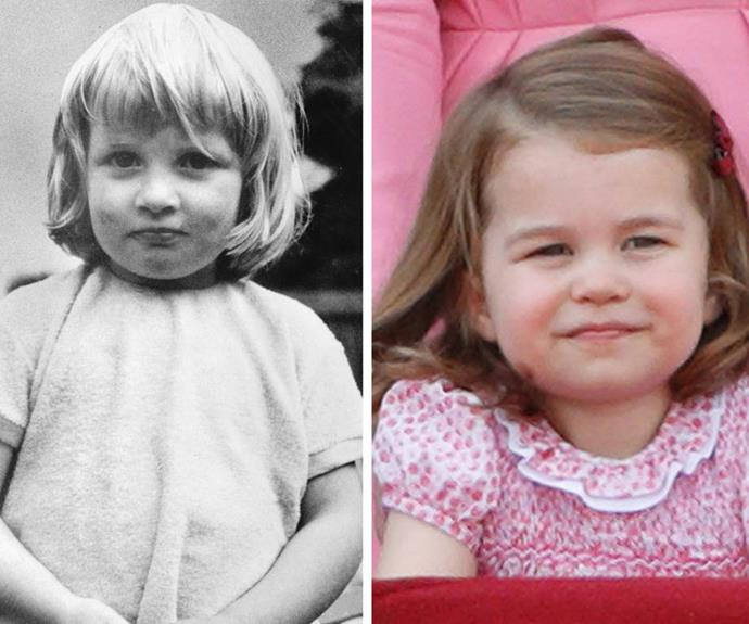 Those pursed lips and that cheeky expression of Charlotte's reminded the world of a young Princess Diana (L) when she was the same age. *(Source: Getty Images)*