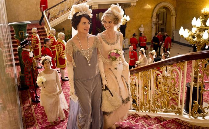 Elizabeth McGovern and Lily James as Cora Crawley and Lady Rose.