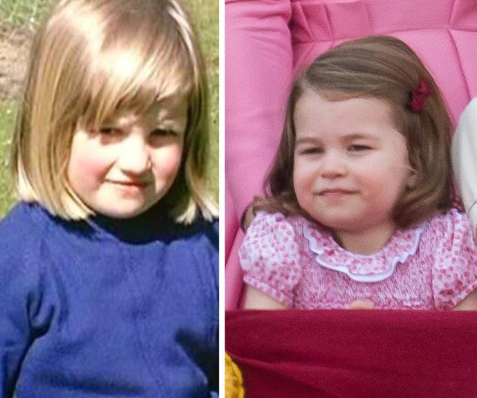 Charlotte doesn't just share Diana's name! Fans have been quick to point out how much the little royal looks like her late grandmother (L).
