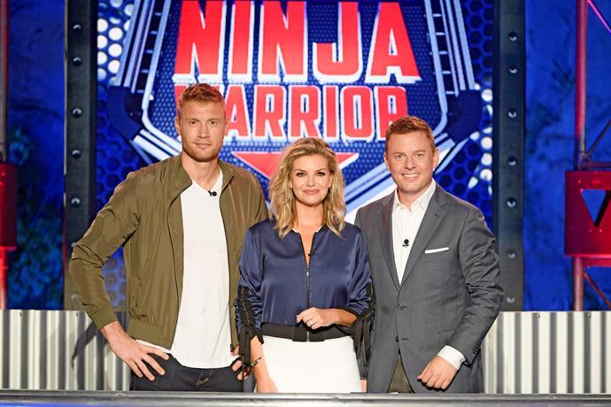 Australian Ninja Warrior's Freddie Flintoff, Rebecca Maddern and Ben Fordham.