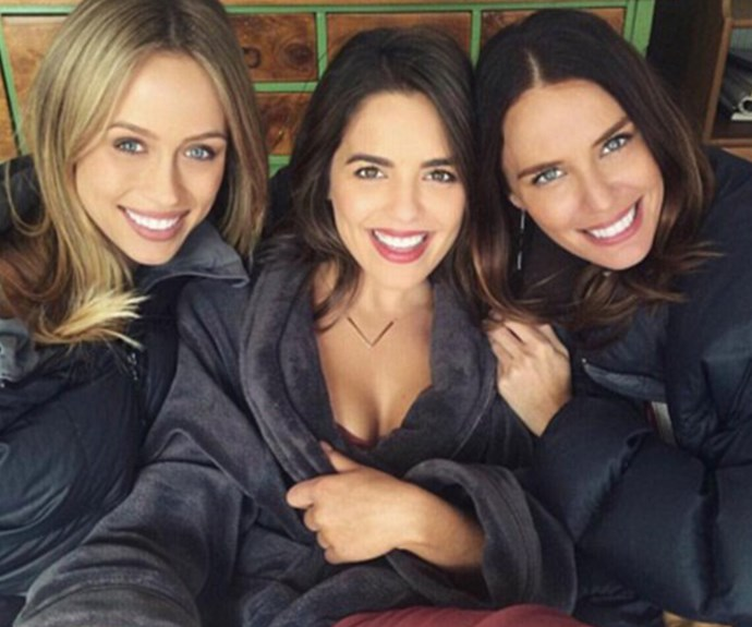Jodi (far right) with *Neighbours* actresses Olympia Valance (centre) and Emma Lane (left).