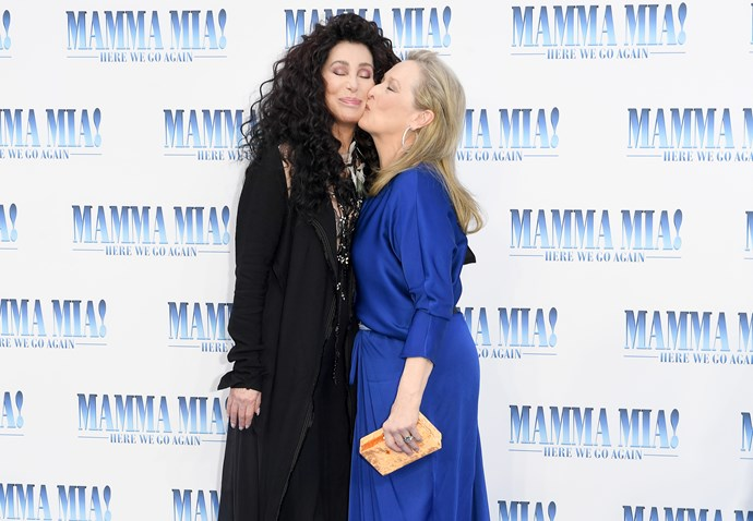 Cher and Meryl Streep on the red carpet at the premiere.