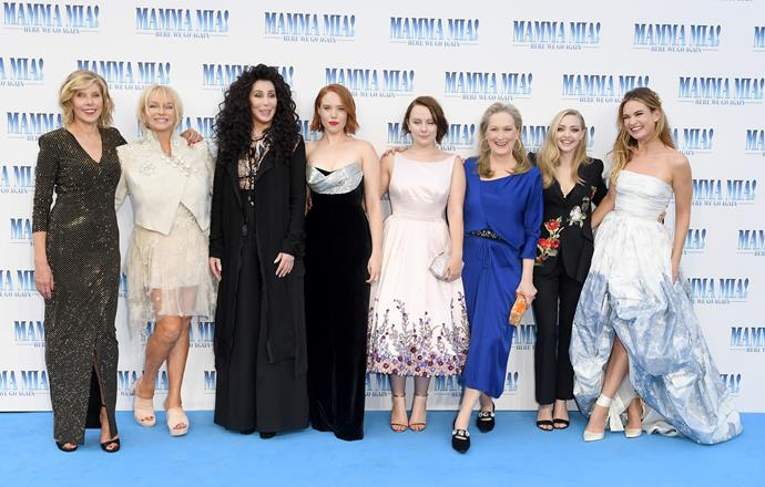 *Mamma Mia! Here We Go Again's* leading ladies take to the blue carpet! From left to right: Christina Baranski, Judy Cramer, Cher, Jessica Keenan Wynn, Alexa Davies, Meryl Streep, Amanda Seyfried and Lily James.