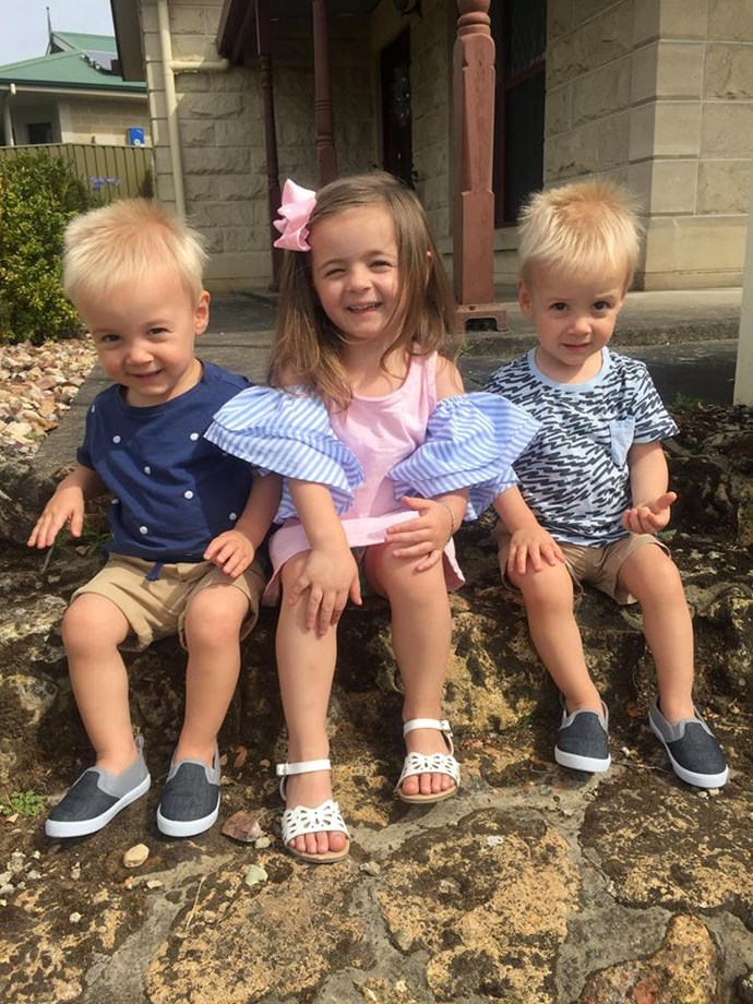 Violet and the twins.  Source: Supplied