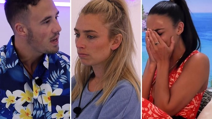 The love triangle between Cassidy, Grant and Tayla on *Love Island* saw things off to a rocky start - but Grant followed his heart and picked Tayla in the end.  Image credit: 9Now