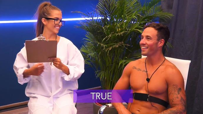 Grant taking a lie detector test on Love Island.