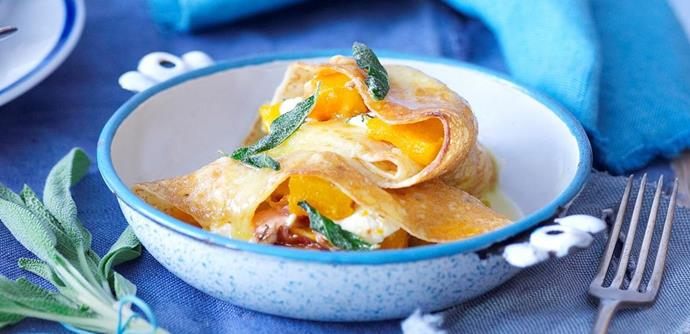 """Crispy crêpes with goat's cheese and sage.   [Find the recipe here.](http://www.foodtolove.com.au/recipes/crispy-crepes-with-goats-cheese-and-sage-26441 target=""""_blank"""" rel=""""nofollow"""")"""