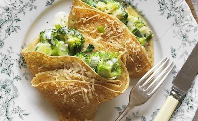 """Crêpes with creamy broccoli, broccoli recipe, brought to you by Australian Women's Weekly.  [Find the recipe here](http://www.foodtolove.com.au/recipes/crepes-with-creamy-broccoli-20878 target=""""_blank"""" rel=""""nofollow"""")."""
