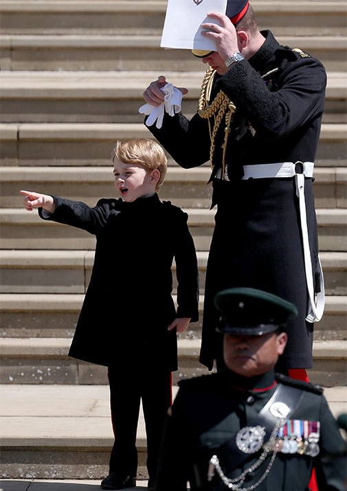 George looked very grown-up in a miniature version of the Blues and Royals frockcoat.