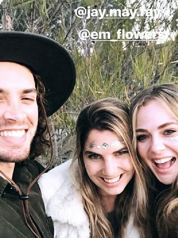 The actress appeared to be having a great time with her boyfriend Jake Holly and friends.