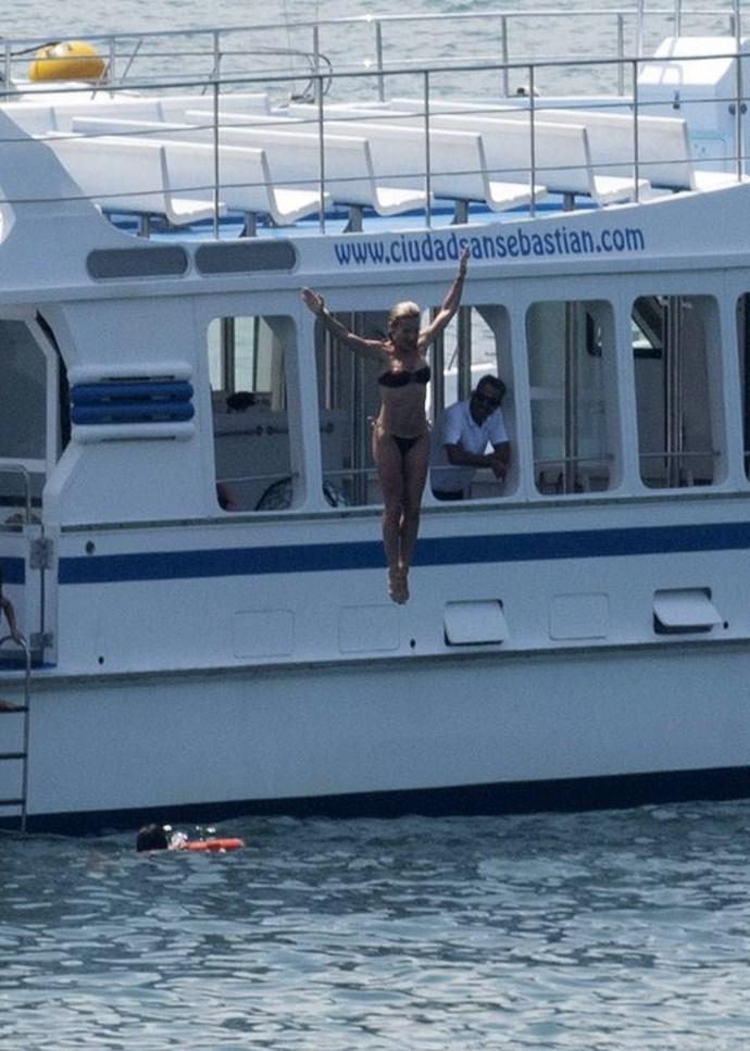 Elsa Pataky takes a birthday jump into the water.