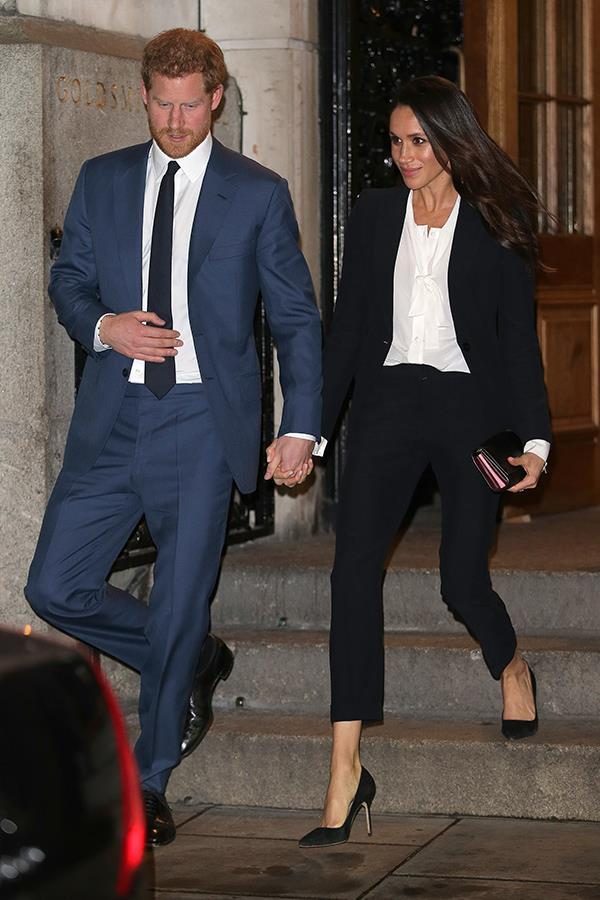 The Duchess dazzled in this chic Alexander McQueen pant suit back in February.