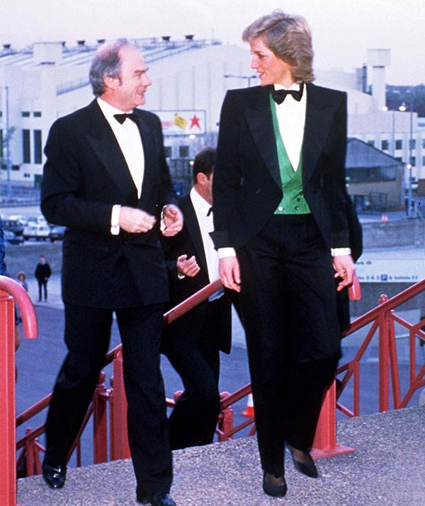 Princess Diana turned heads in this daring tuxedo in 1988.