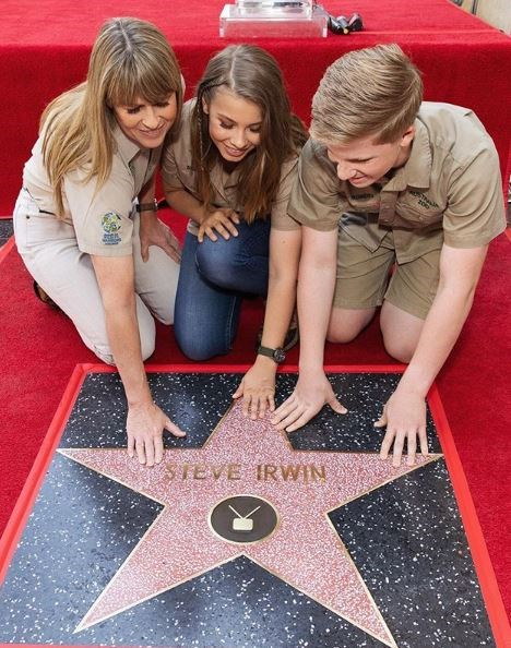 Terri, Bindi and Bob were there to accept Steve's star on the Hollywood Walk Of Fame.