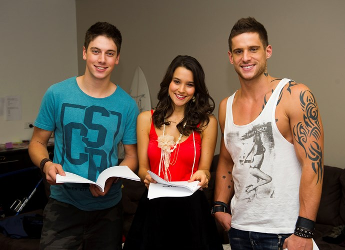 Rhiannon and Dan read lines with Lincoln Younes (far left) during their *Home and Away* days.