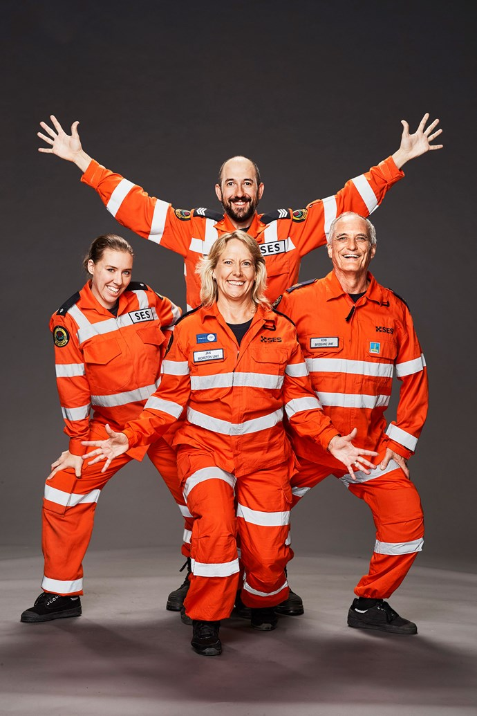 """**THE SES**  These State Emergency Service volunteers are always caring for everyone else. Now, it's time to fuel another passion. """"We have a great love of dance,"""" Rob says.   Clockwise from left: Rachael, 28, primary school teacher; Dugald, 31; Rob, 54, senior SES field officer; and Jan, 51."""
