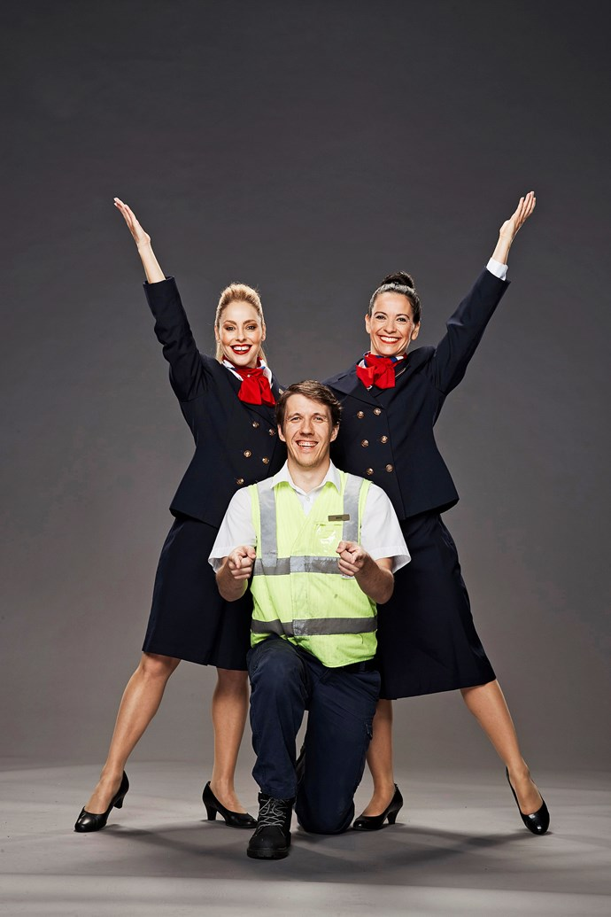 **THE AIRLINE CREW**  Bridget (left), 33, is a flight attendant, Mike, 27, is a flight engineer, and Nicole, 40, is a product manager.