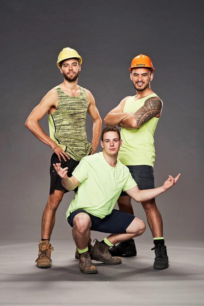 **THE CONSTRUCTION GUYS**  From left: Jeremy, 27, labourer; Luca, 19, apprentice landscaper; and Kenny, 24, forklift driver.