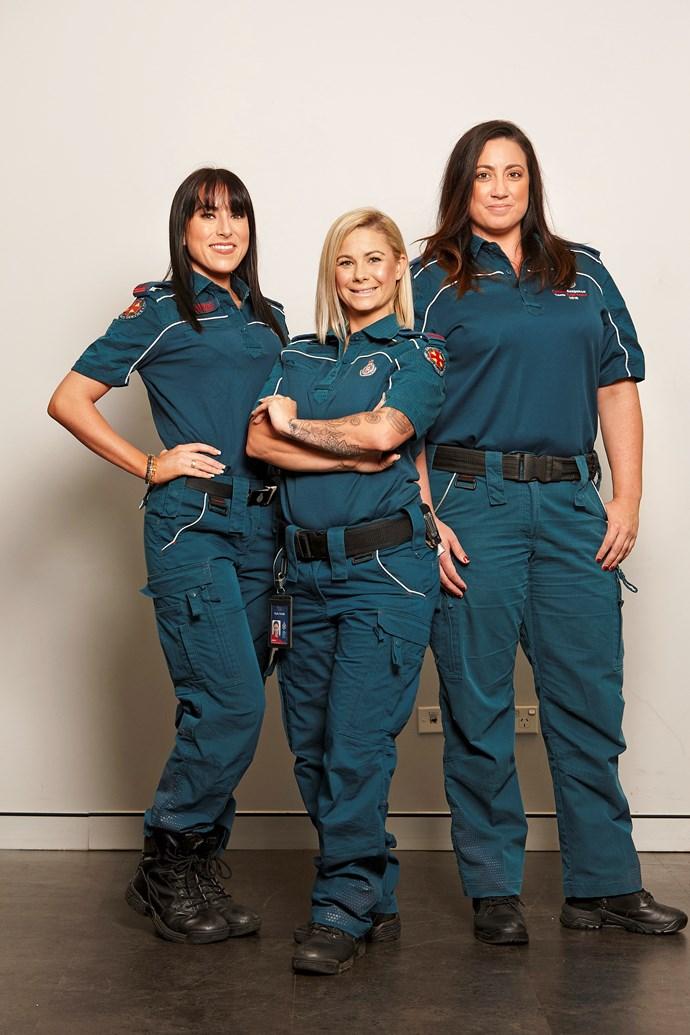 **THE AMBOS**  From left: Alli, 26, Kyla, 32, and Tara, 31, are all paramedics.