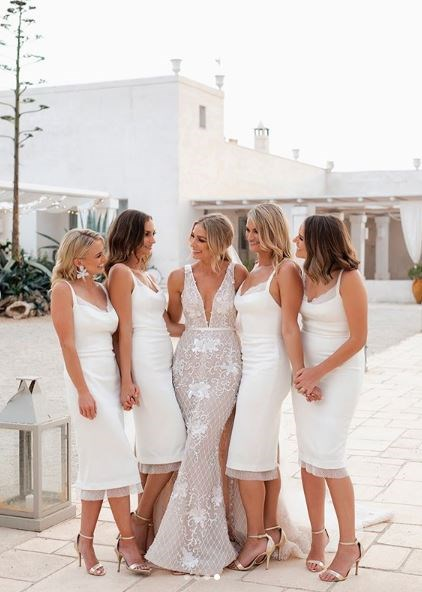 """I have known all these girls for over 18 years and couldn't have imagined the day without them. They are my life,"" the lawyer mused of her bridal party."