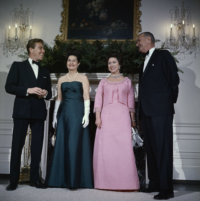 President Lyndon Johnson, Lady Bird Johnson, Prince Margaret and Lord Snowdon at the White House during their controversial tour of the U.S.