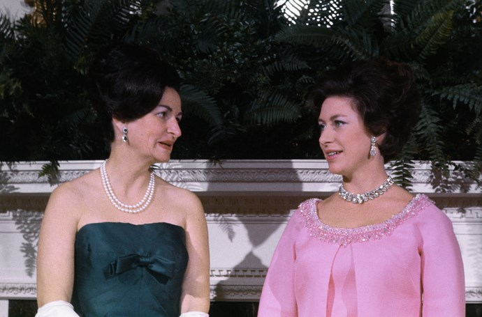 Lady Bird Johnson, former First Lady of the United States, with Princess Margaret at the White House on November 17, 1965.