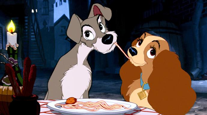 The famous *Lady and the Tramp* spaghetti scene.