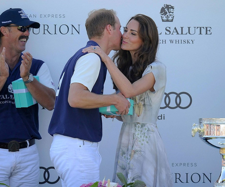 Kate presents Will with a kiss on either cheek after a polo match in California in 2012.