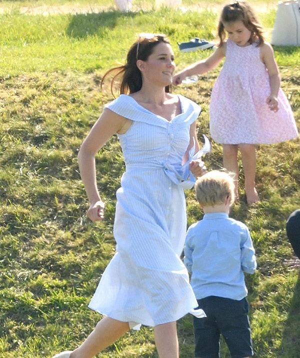 Kate was spotted running at the polo in June. Fans initially thought she was chasing after her children.
