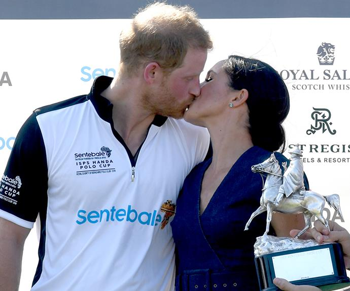 Prince Harry and Meghan shared a kiss at the polo on Thursday.