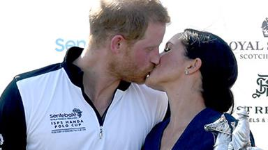 Meghan Markle and Prince Harry shared a sweet kiss at the polo