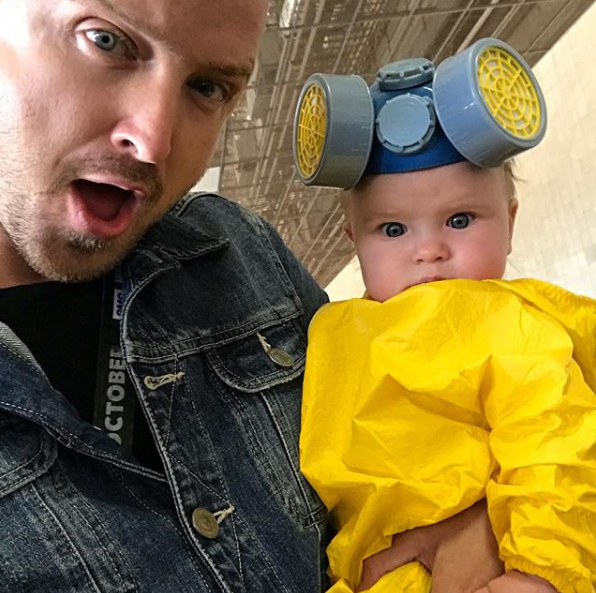 *Breaking Bad* star Aaron Paul and his wife, Lauren Parsekian, welcomed their first child, baby Story Annabelle, in February.