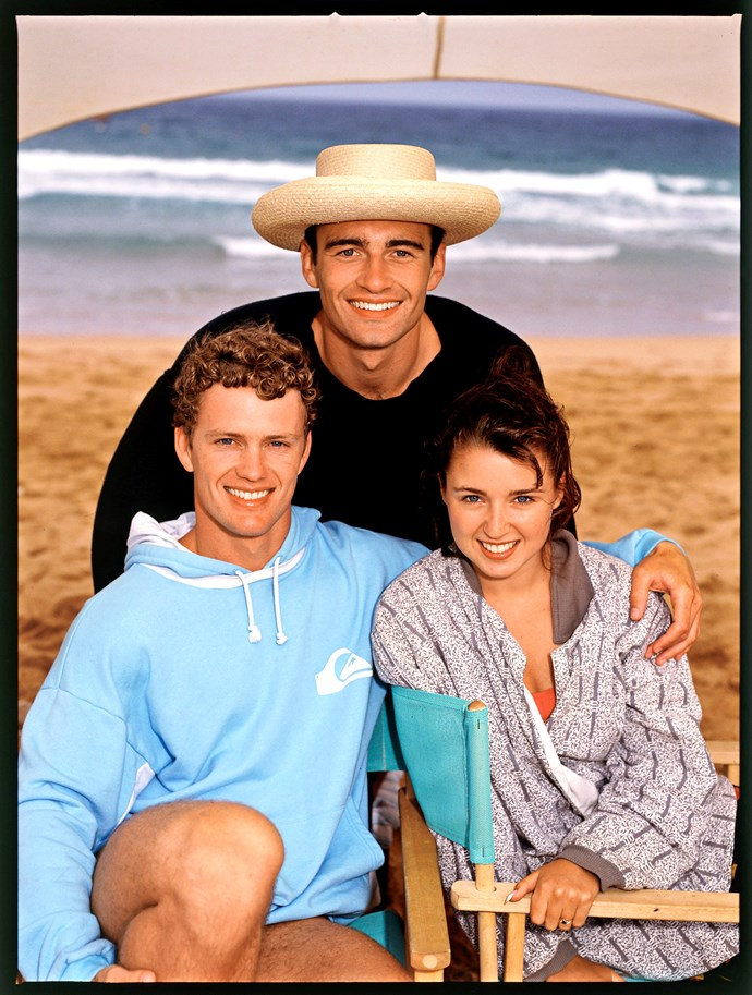 Dannii with her *Home and Away* co-stars Craig McLachlan and Julian McMahon in 1990.