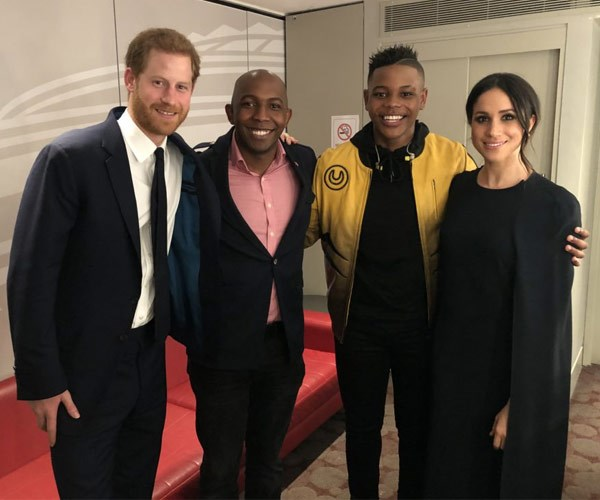 Donel Mangena (second from right) with Prince Harry (left) his father Nkosana and Meghan Markle