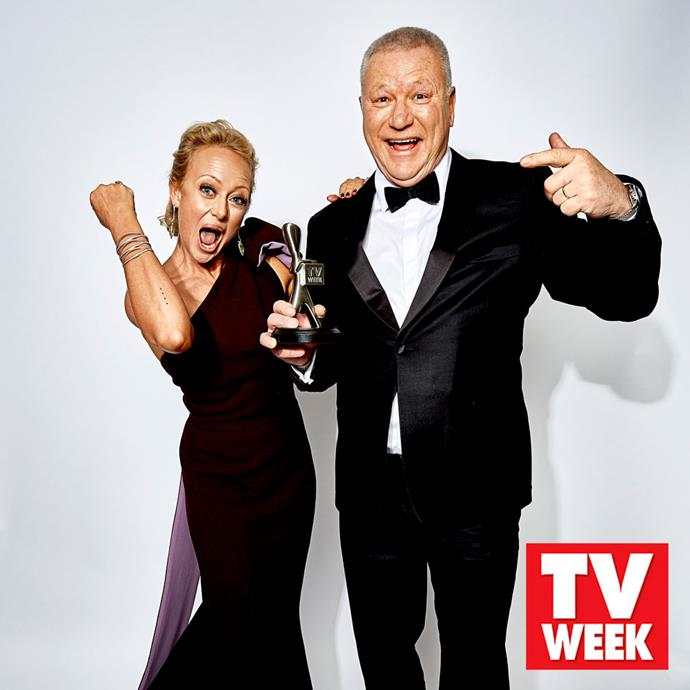 Shelley Craft and Scott Cam celebrate their 2018 Logies win for *The Block.*