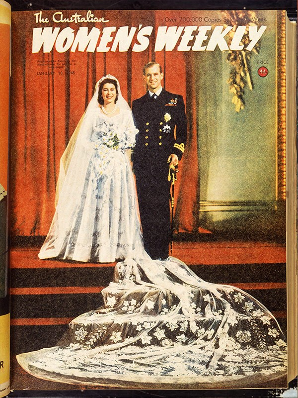"January 1948: ""This week's cover is a fine color [sic] study of Princess Elizabeth and the Duke of Edinburgh."""