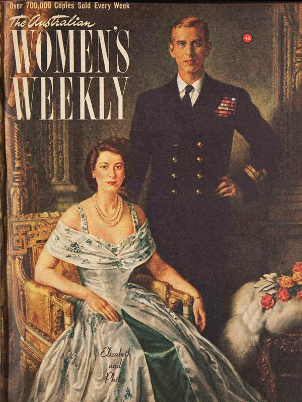 January 1949: A portrait of Elizabeth and Philip was completed just before Charles' birth, painted by Margaret Lindsay Williams.
