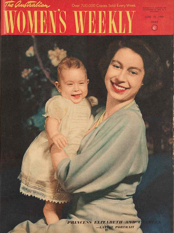 "June 1949: The ""latest portrait"" of Elizabeth and a cheekily grinning Charles, held by a radiant 23-year-old Elizabeth."