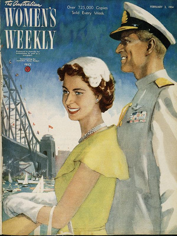 """February 1954: Bonar Dunlop also painted this """"imaginary scene"""" on Sydney Harbour on the arrival for the SS Gothic, carrying the Queen and the Duke of Edinburgh."""