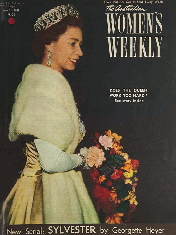"June 1958: *The Weekly* cover asks, ""Does the Queen work too hard?"" We reported that, determined to protect her health, Cabinet may act to reduce her duties."