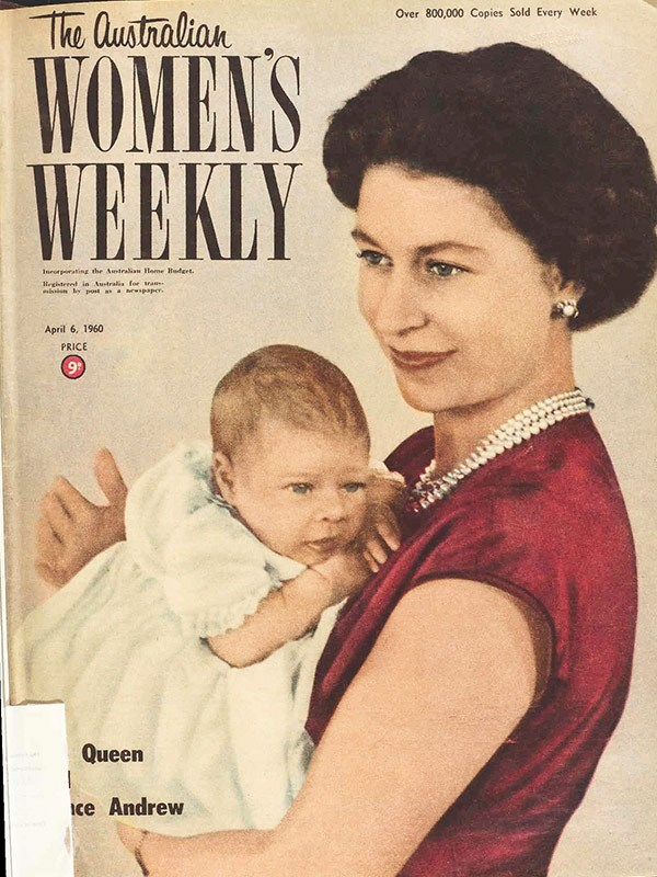 "April 1960: ""Queen Elizabeth proudly holds her second son, Prince Andrew Albert Christian Edward."""