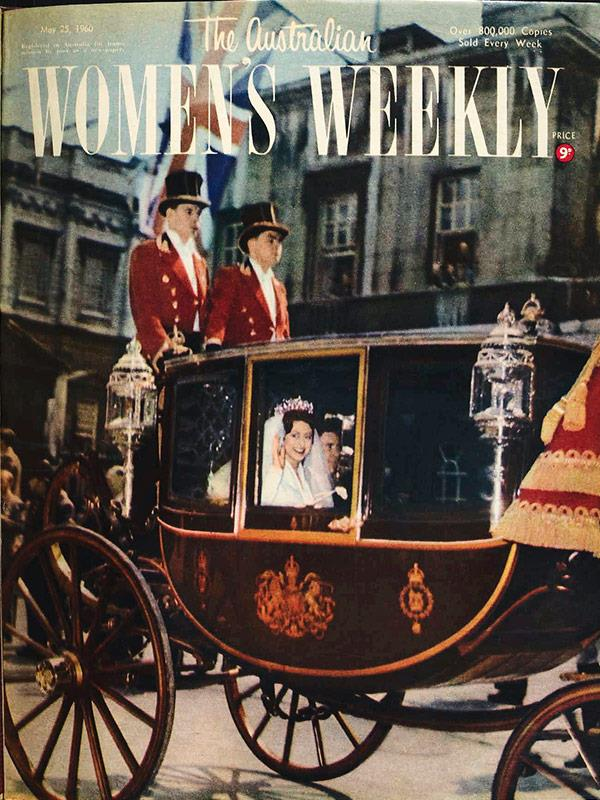 """May 1960: """"Beautiful bride Princess Margaret - her husband, Mr Anthony Armstrong, at her side - waves as the couple travel in a glass coach to Buckingham Palace."""""""