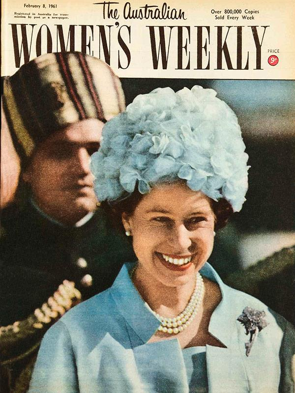 "February 1961: Queen Elizabeth, ""smiling radiantly"" at the start of the royal tour of India and Pakistan, wearing a ""soft blue flower hat""."