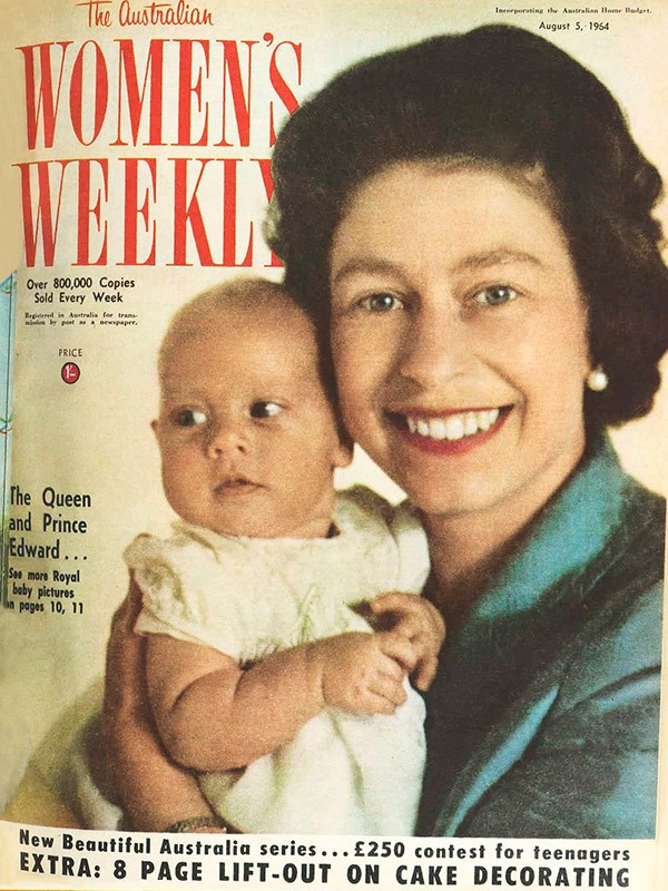 August 1964: Elizabeth with her fourth child, Prince Edward, at four months. He was third in line to the throne, after Prince Charles and Prince Andrew.