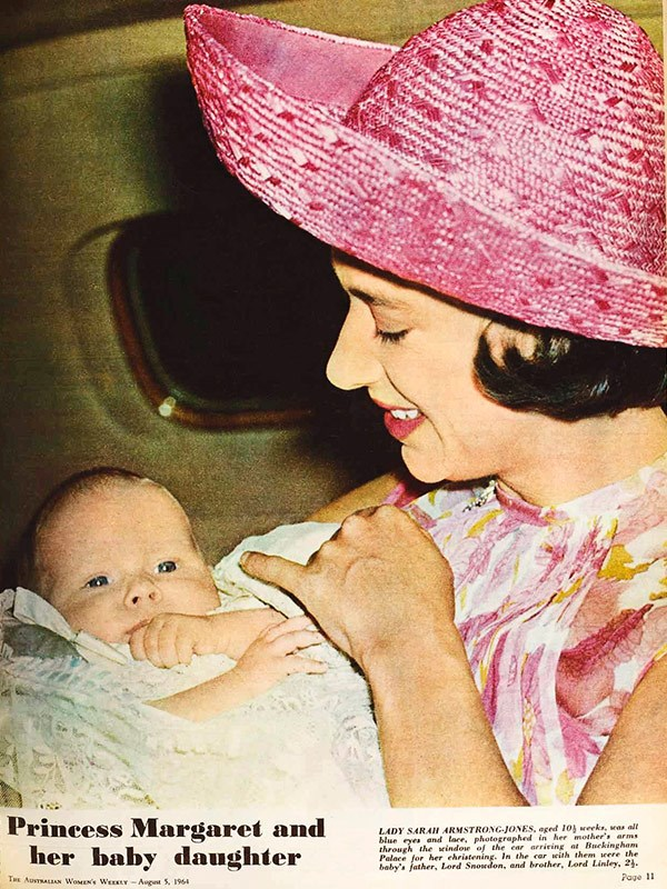 "August 1964: Lady Sarah Armstrong-Jones, photographed by her father Lord Snowdon at 10-and-a-half weeks, was ""all blue eyes and lace"" at her christening."