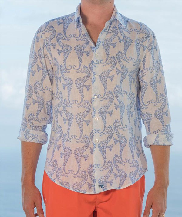 Island style! Prince William stepped out in a linen shirt from the local brand, Pink House Mustique.