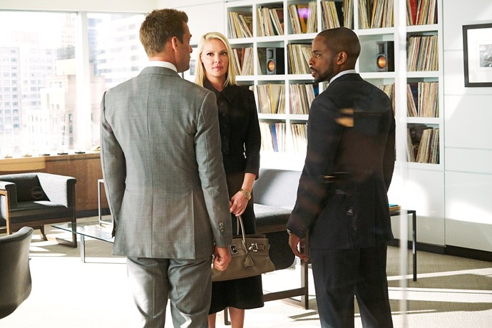In a scene with Harvey (Gabriel Macht, left) and Alex (Dulé Hill) in *Suits.*