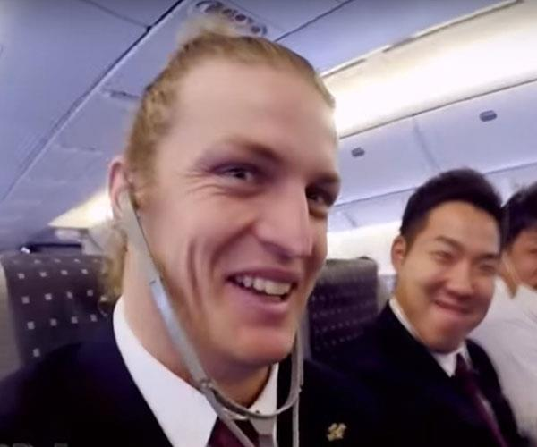 Nick shows off his fuzz-free face en route to Japan when he played for the Coca Cola West Red Sparks in 2014. **WATCH BELOW: A moustache-less Nick Cummins cracks jokes in Japanese on *The Project*. Post continues...**